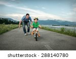 happiness father and son on the ... | Shutterstock . vector #288140780