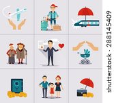 insurance character and icons... | Shutterstock .eps vector #288145409