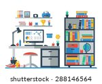 teenager room interior with... | Shutterstock .eps vector #288146564