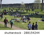 Small photo of Rome, Italy, 04/06/2015 - Easter monday pic nic. Parco degli Acquedotti