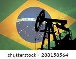 oil pump on background of flag... | Shutterstock . vector #288158564