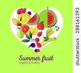 vector fruits collection icon.... | Shutterstock .eps vector #288161393