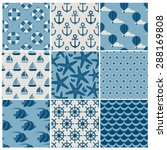 set of nine  blue vector marine ... | Shutterstock .eps vector #288169808