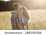 a young man and woman kissing... | Shutterstock . vector #288190208
