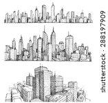 hand drawn big cities... | Shutterstock .eps vector #288197909