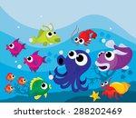 colorful cartoon underwater sea ...   Shutterstock .eps vector #288202469