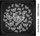 vintage chalk butterfly circle | Shutterstock .eps vector #288210866