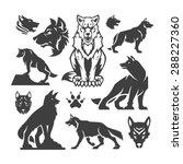 Set Wolfs Vector Illustrations.