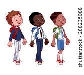 three cute boys in school...   Shutterstock .eps vector #288235088