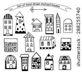 set of hand drawn houses ... | Shutterstock .eps vector #288255740