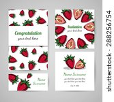 set of cards with strawberry... | Shutterstock .eps vector #288256754
