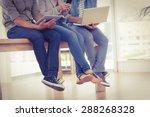 three creative business team... | Shutterstock . vector #288268328