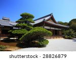 shaped pine tree in japanese garden - stock photo