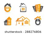 Stock vector logo house building set real estate icon collection home orange logotype 288276806