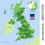 vector green high detail uk map | Shutterstock .eps vector #288279320