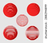set of abstract red spheres | Shutterstock .eps vector #288294899
