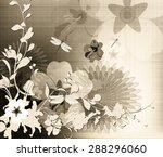 flowers in the style of an old... | Shutterstock . vector #288296060
