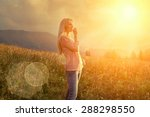 happiness woman stay outdoor... | Shutterstock . vector #288298550
