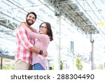 happy couple looking away while ... | Shutterstock . vector #288304490