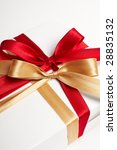 big red  gold bow on white... | Shutterstock . vector #28835132