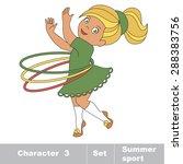 one baby girl turns the hoop.... | Shutterstock .eps vector #288383756