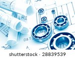 mechanical drawing and tools ... | Shutterstock . vector #28839539