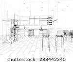 3d linear kitchen interior | Shutterstock . vector #288442340