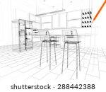 3d linear kitchen interior | Shutterstock . vector #288442388