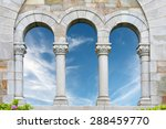 Archway Window And Blue Sky An...