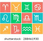 zodiac symbol icons on color... | Shutterstock . vector #288461930