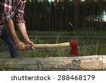 hands of lumberjack with axe...   Shutterstock . vector #288468179