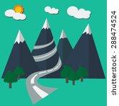 illustrator of road to mountain ... | Shutterstock .eps vector #288474524