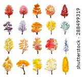Set Of Autumn Trees. Hand Draw...