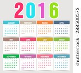 simple 2016 calendar. 2016... | Shutterstock .eps vector #288500573