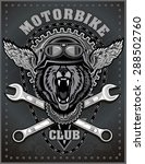 vintage bear motorcycle label | Shutterstock .eps vector #288502760