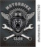 vintage bear motorcycle label | Shutterstock .eps vector #288502760