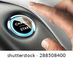 Small photo of Finger about to press a change button. Concept of change management or changing life