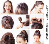easy bridal korean bun updo... | Shutterstock . vector #288522344