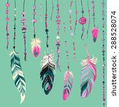 set of ethnic feathers. ethnic... | Shutterstock .eps vector #288528074