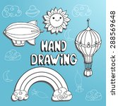 hand drawing set by kid on paper | Shutterstock .eps vector #288569648