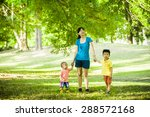 boys with family in the summer... | Shutterstock . vector #288572168