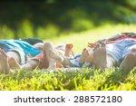 group of happy children lying... | Shutterstock . vector #288572180