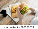 fast food  people and unhealthy ... | Shutterstock . vector #288575594