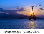 cable car over sea leading to... | Shutterstock . vector #288599378