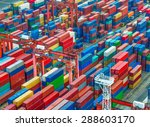 industrial port with containers | Shutterstock . vector #288603170