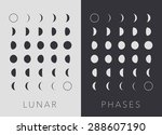 Flat Lunar Phases  Black And...