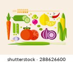 fruits and vegetables flat... | Shutterstock .eps vector #288626600