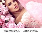 beautiful girl in the flower... | Shutterstock . vector #288654506