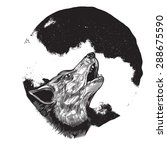 wolf howling at full moon | Shutterstock .eps vector #288675590