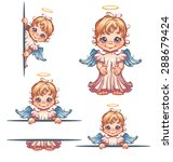vector set of cute angel with... | Shutterstock .eps vector #288679424